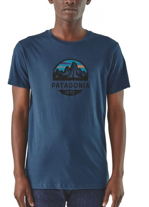 Men's Fitz Roy Scope Organic Tee in Stone Blue by Patagonia