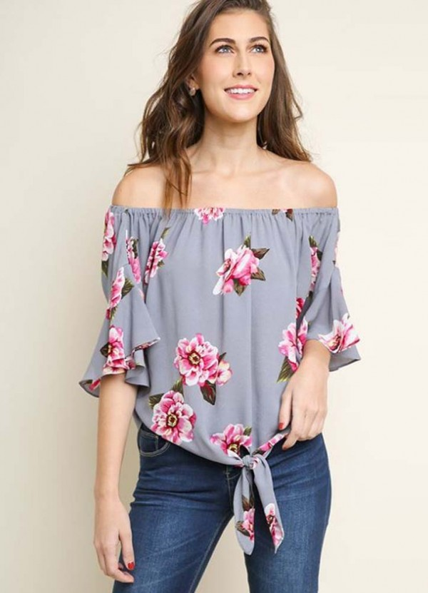 d3bd4c1c67c38 Ruffled Bell Sleeve Off Shoulder Floral Print Top in Cool Grey Mix by Umgee