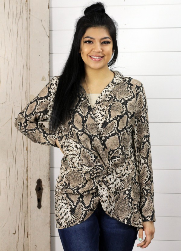 Snake Print Knotted Front Top in Brown by Dress Forum
