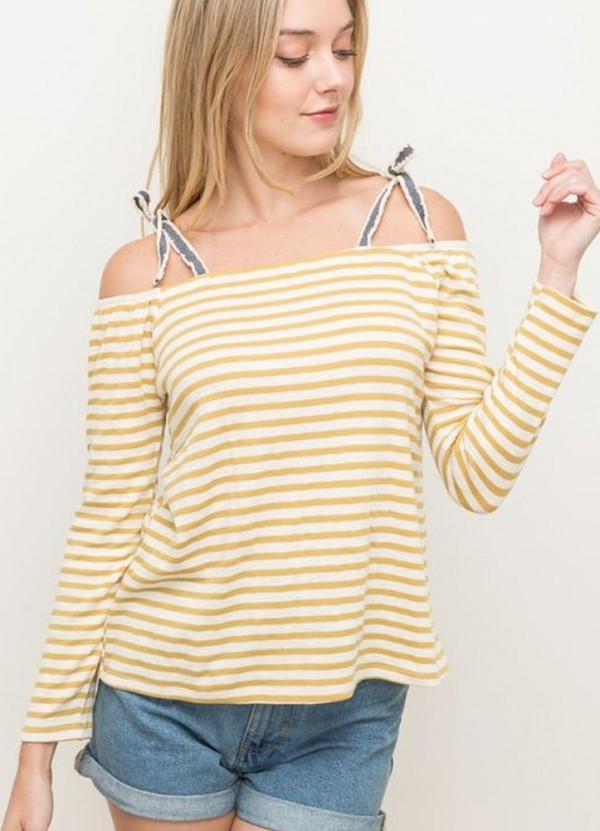 e6840dabf5462d Stripe Off Shoulder Top in Mustard by Hem   Thread