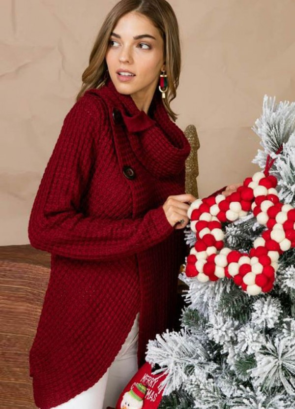 L/S Cowl Neck Sweater in Burgundy by Main Strip