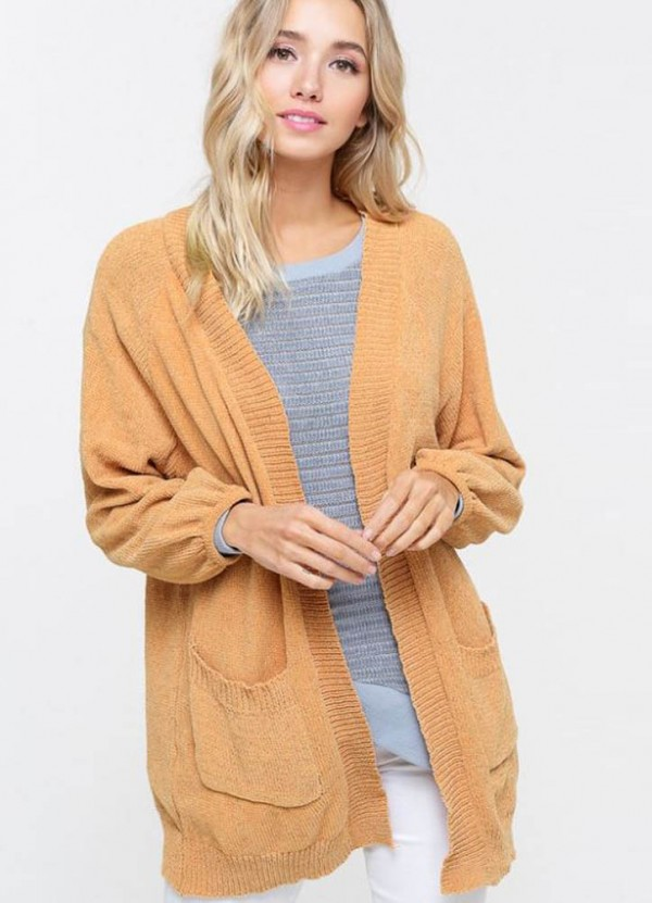 Chenille Cardigan in Mustard by Listicle
