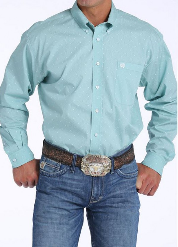 L/S Print Shirt in Light Blue by Cinch