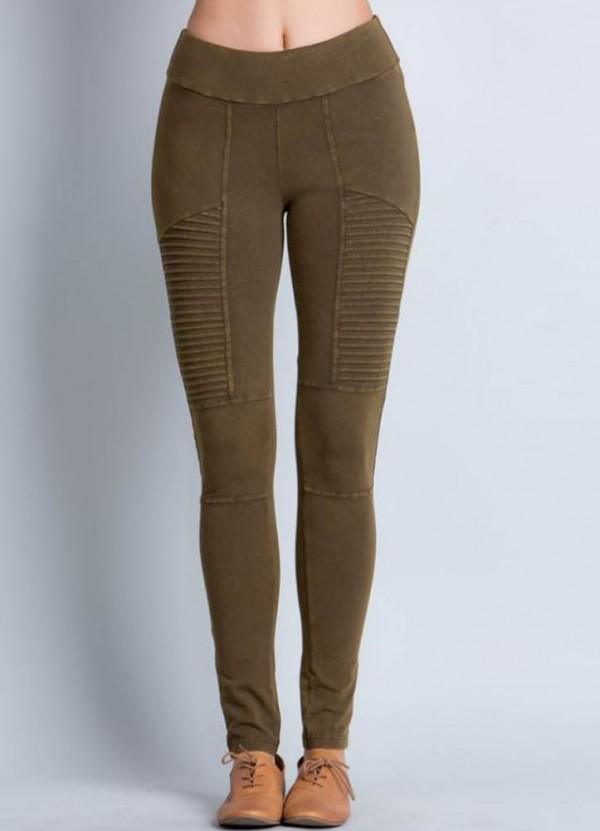 Mineral Washed Moto Leggings in Olive by Rae Mode