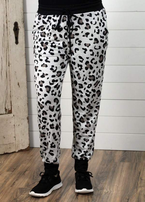 Leopard Joggers in Ivory
