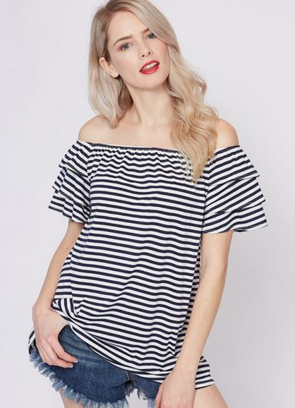 Off the Shoulder Stripe Top in Navy by Vine & Love