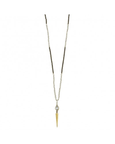 Beaded Spear Drop Necklaces in Gray Glass 34'' Adjustable