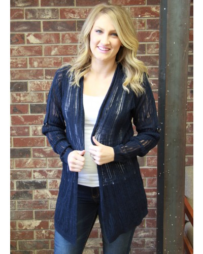 Long Sleeve w/Roll Tab Cardigan in Navy by Skies are Blue