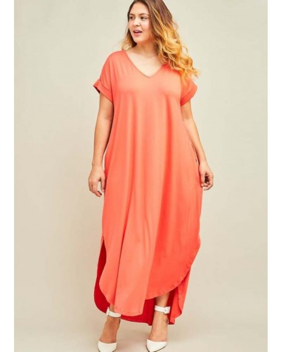 Plus Maxi Dress with Pockets in Coral