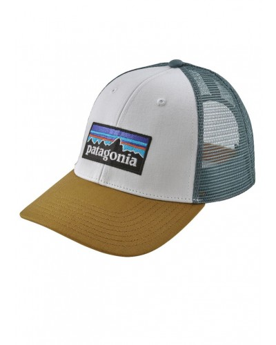 P-6 Logo LoPro Trucker Hat in White/Kastanes Brown by Patagonia