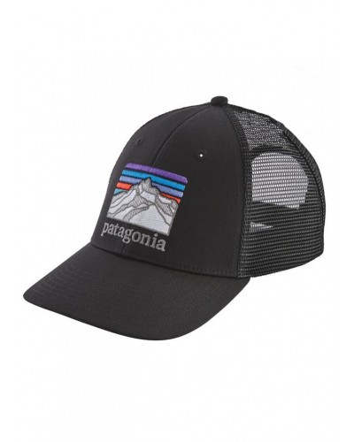 Line Logo Ridge LoPro Trucker Hat in Black by Patagonia