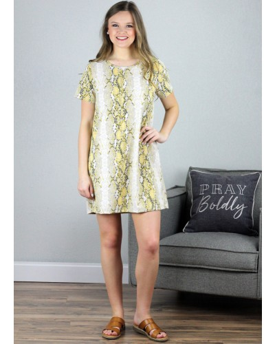 6c2b8a45d91 Reptile Print Dress in Mustard by Entro
