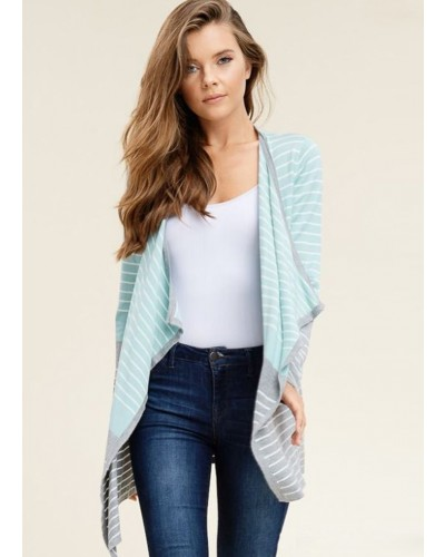 Striped Color Block Draped Front Cardigan in D. Blue/H. Grey