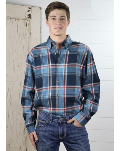 L/S Flannel Plaid in Marine