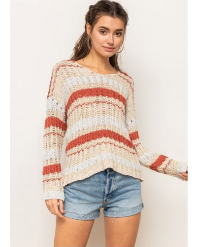 V Neck Mixed Color Sweater in Natural Combo