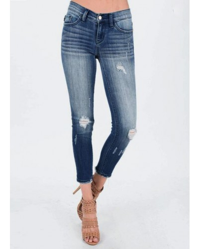 Cropped Ankle Fray Skinny in Md/Bl by Judy Blue