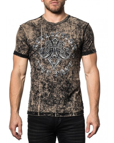 S/S Reversible Evil Eyes Tee in Tobacco/Black Lava Tint by Affliction