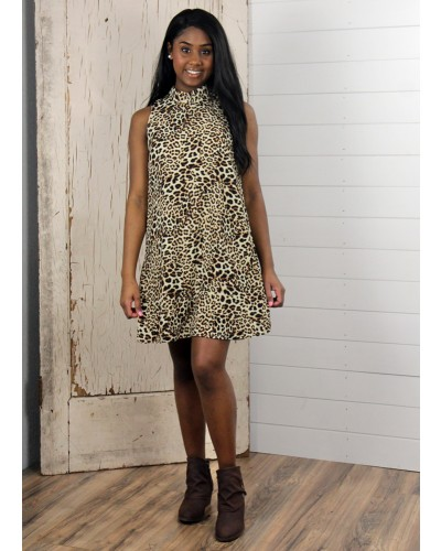 Cate Cheetah Sleeveless Dress in Tan/Black by Sadie & Sage