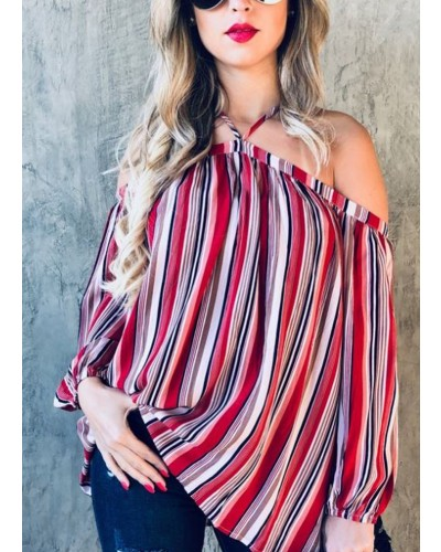 Off Shoulder Top in Red Multi by and the why