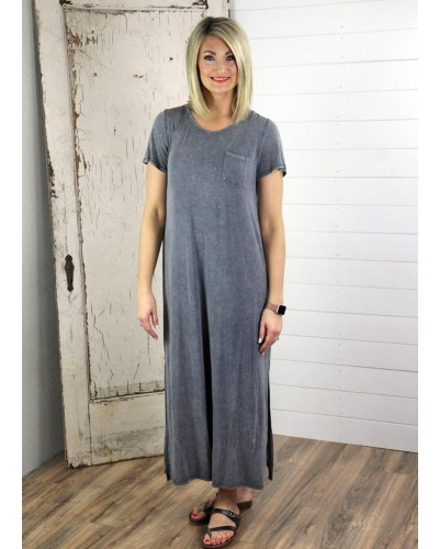 S/S Washed Maxi Dress in Slate by Jofifl