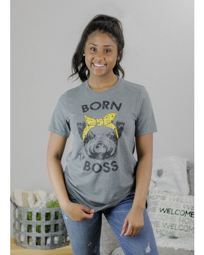 S/S Born To Boss Tee in Deep Heather Grey by Lemon Lorraines