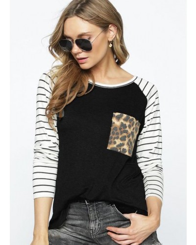 Leopard Front Striped Sleeve Top in Charcoal by BiBi