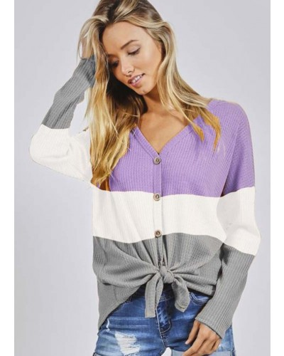 Color Block Tie Front Top in Lavender/Ivory/Grey by BiBi
