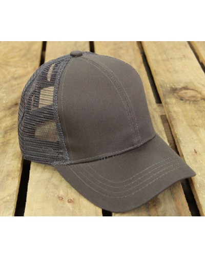 CC Brand Pony Cap w/Mesh in Charcoal by Hana