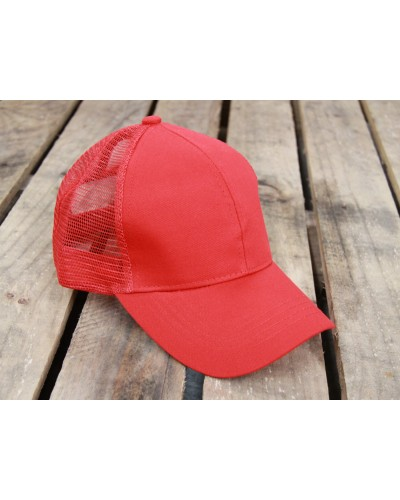 CC Brand Pony Cap w/Mesh in Red by Hana
