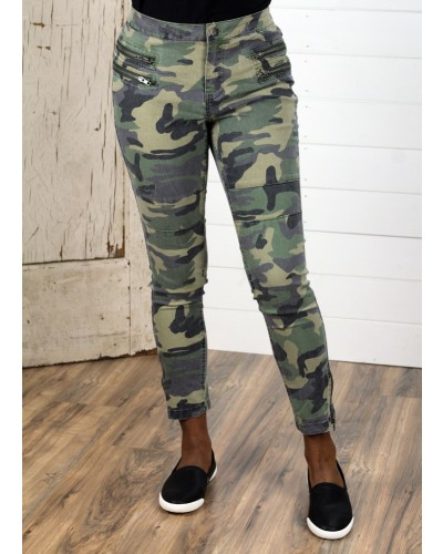 Camo Moto Pants in Olive Camo by Umgee