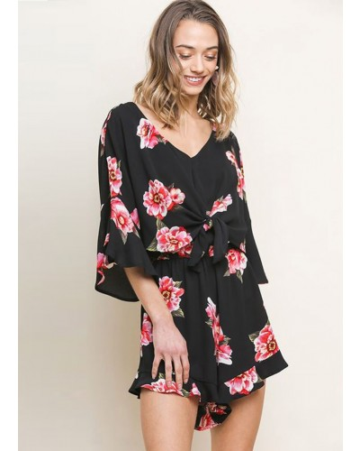 Bell Sleeve V Neck Floral Print Romper in Black Mix by Umgee