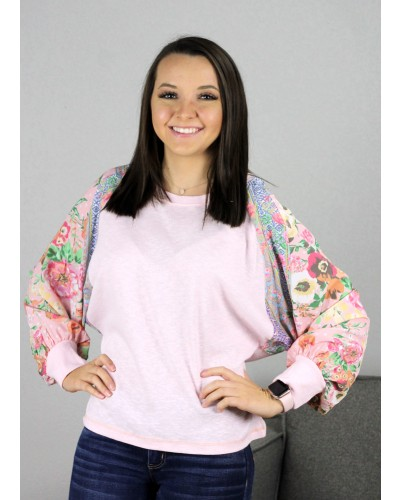 91b3ae0502c3e Long Puff Sleeve Floral Mix Top in Blush Mix by Umgee