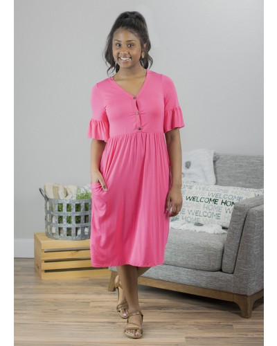 High Waist Midi Dress in Pink by Beeson River
