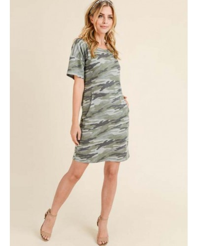 S/S Camo Dress in Army Green