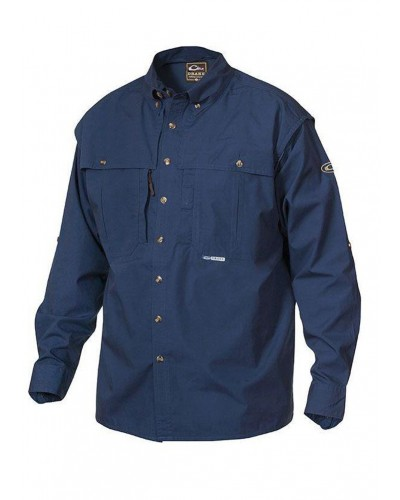 L/S Cotton Wingshooters Shirt in Navy by Drake