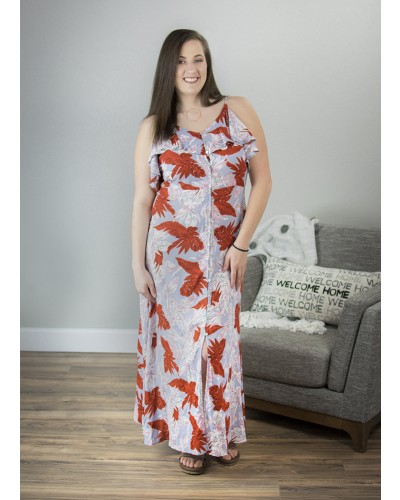 Printed Rayon Gauze Maxi Dress in Light Grey by Easel