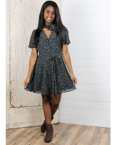 Leafy Tie-Neck Wrap Dress in Black/Sage by Dress Forum