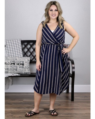Striped Sleeveless Dress in Navy by Lara