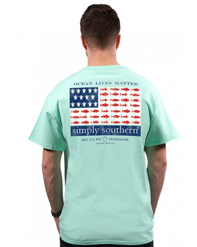 Mens Sea Flag Tee in Poseidon by Simply Southern