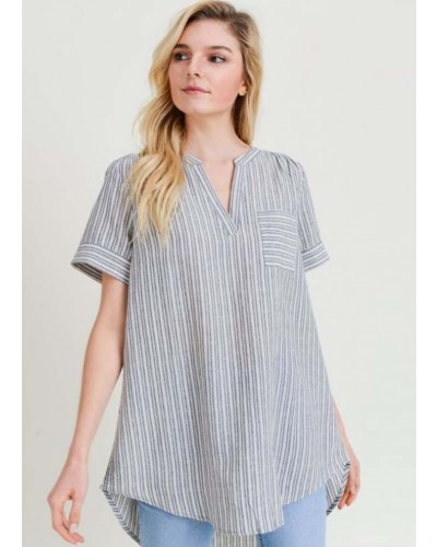 Striped Collarless Hi-Lo Top in Navy by Jodifl