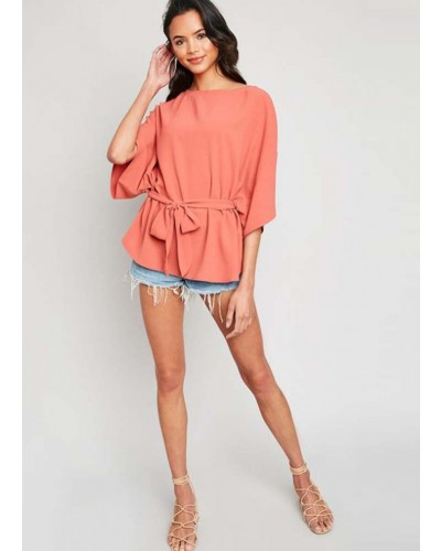S/S Tie Front Blouse in Rose