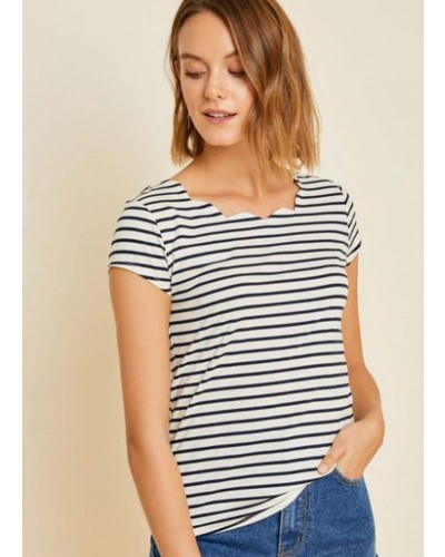 Striped Scalloped Neck Top in Navy by Hayden Los Angeles