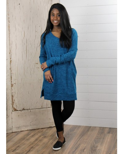 L/S V Neck Brushed Melange Sweater in Teal