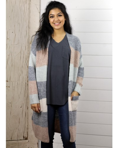 Striped Cardigan in Pastel Combo