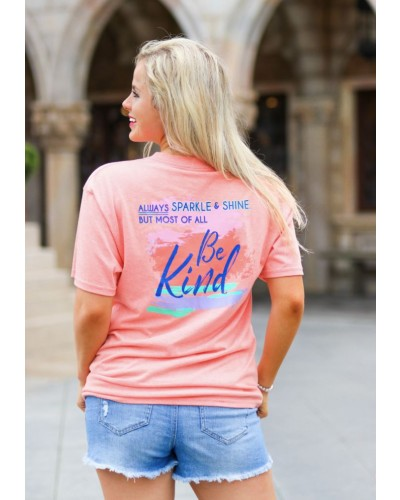 S/S Be Kind Tee in Heather Coral by Jadelynn Brooke