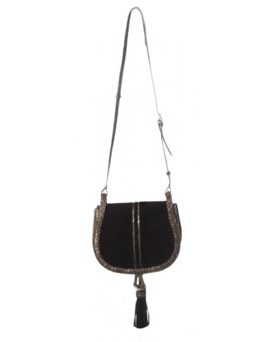 Unicorn Suede Saddle Bag in Black by Steve Madden