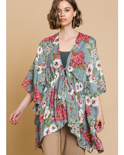 c8c4a4e7167 Floral Print Kimono in Cool Grey Mix by Umgee