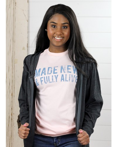 S/S Made New & Fully Alive Tee in Pink by Crazy Cool Threads