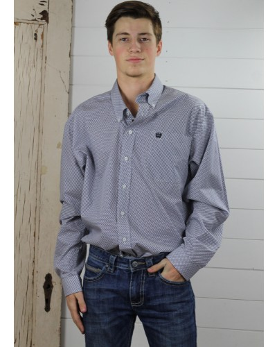 L/S Print Shirt in Grey by Cinch