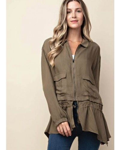 Jacket with Shark Bite Ruffle in Olive